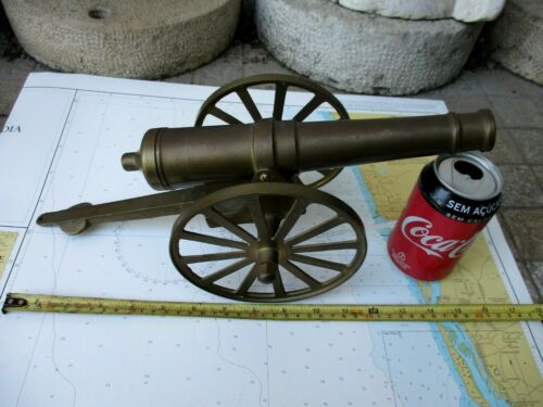 "Vintage in Brass Beautiful Barrel Cannon Nice Patina Long 16"" Heavy 1530 Grams."