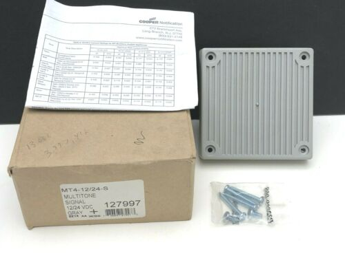 Cooper Multitone 8 Audible Horn Signal Wall/Ceiling Appliance MT4-12/24-S Gray