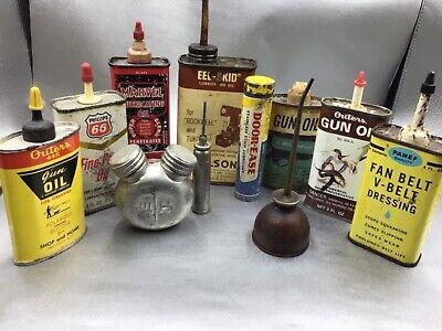 Vintage Household/ Gun phillip 66 marvel fan belt putters Oil Can Lot Of 11 Cans