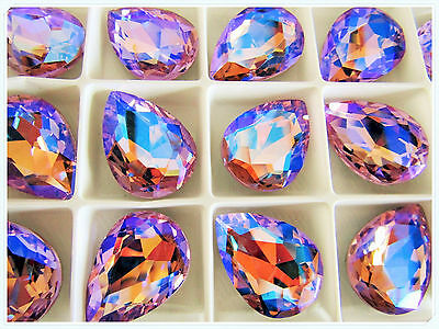 18 x 25mm Faceted Teradrop Glass Chaton Crystals Fancy Cabochons Violet Ab 1pcs