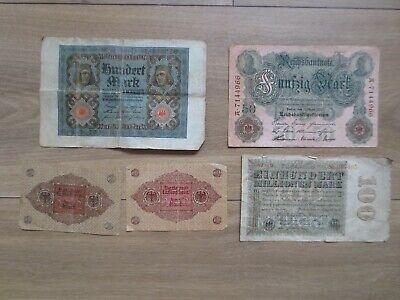 Ancien billets Allemand de 100 , 50 et 2 Mark lot de 5