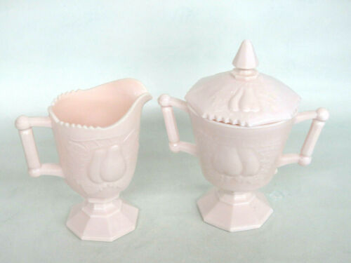 Jeannette Pink Milk Glass Baltimore Pear Creamer and Covered Sugar Bowl 766B