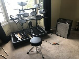 Expanded Roland TD-9 electronic drum kit and amp