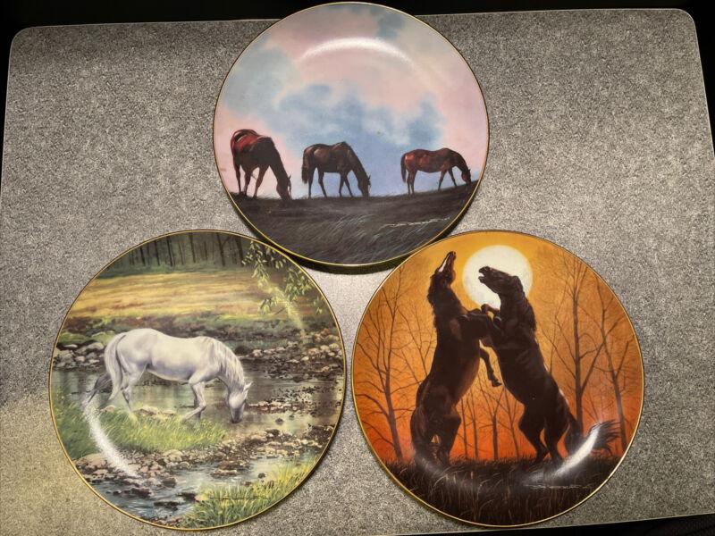 3 Piece Danbury Mint Donald Patterson HORSES Collection Streams Edge 1991