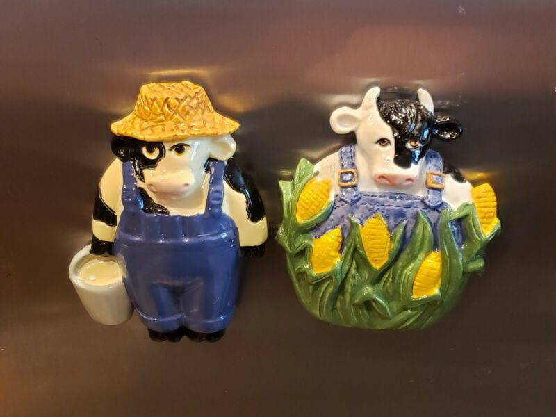 SET OF 2 CLAY ART COW FARMER CORN FIGURE REFRIGERATOR MAGNET NEW