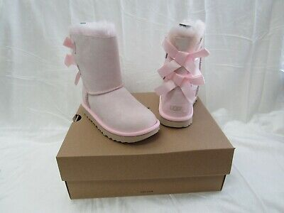 NIB/NEW UGG Australia Kids Girls Bailey Bow II Lt.Pink Suede Boots Size 3