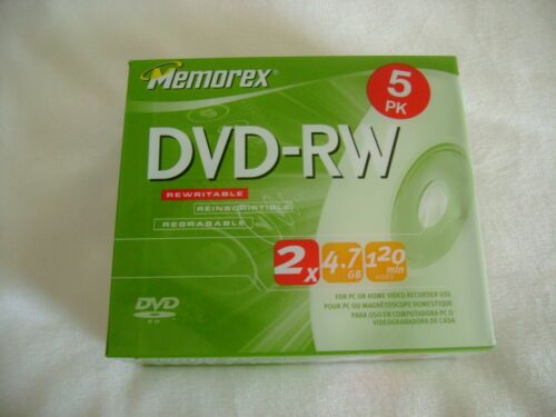 NEW Memorex Dvd-rw 5 PK 2x 4.7gb 120 Mins for PC or Home Video Recorder  SEALED