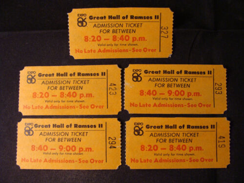 Lot of 5 1986 Expo Great Hall of Ramses II admission tickets