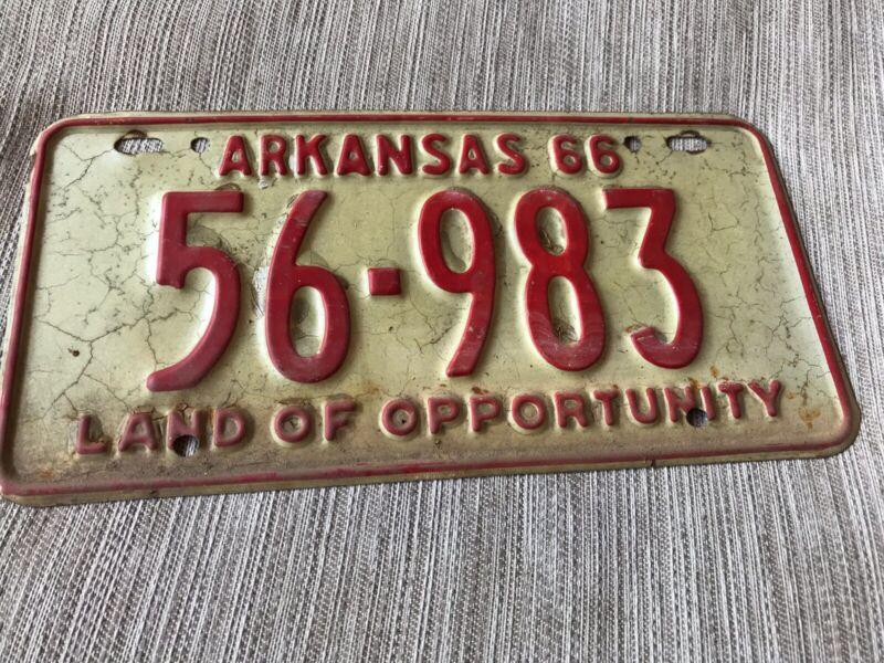 1966 Arkansas License Plate 56 983