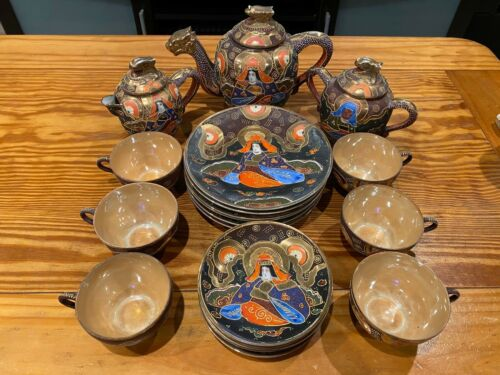 Satsuma Moriage 24pc Porcelain Hand Painted Dragon Tea Set