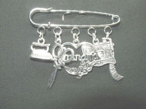 Sewing/Grandma Themed Silver Tone Brooch
