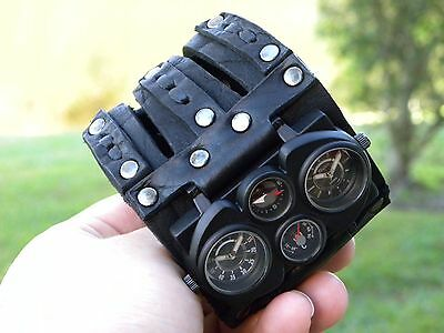 Buffalo Leather handmade wristband  cuff bracelet Men`s Watch Steam punk dual ti