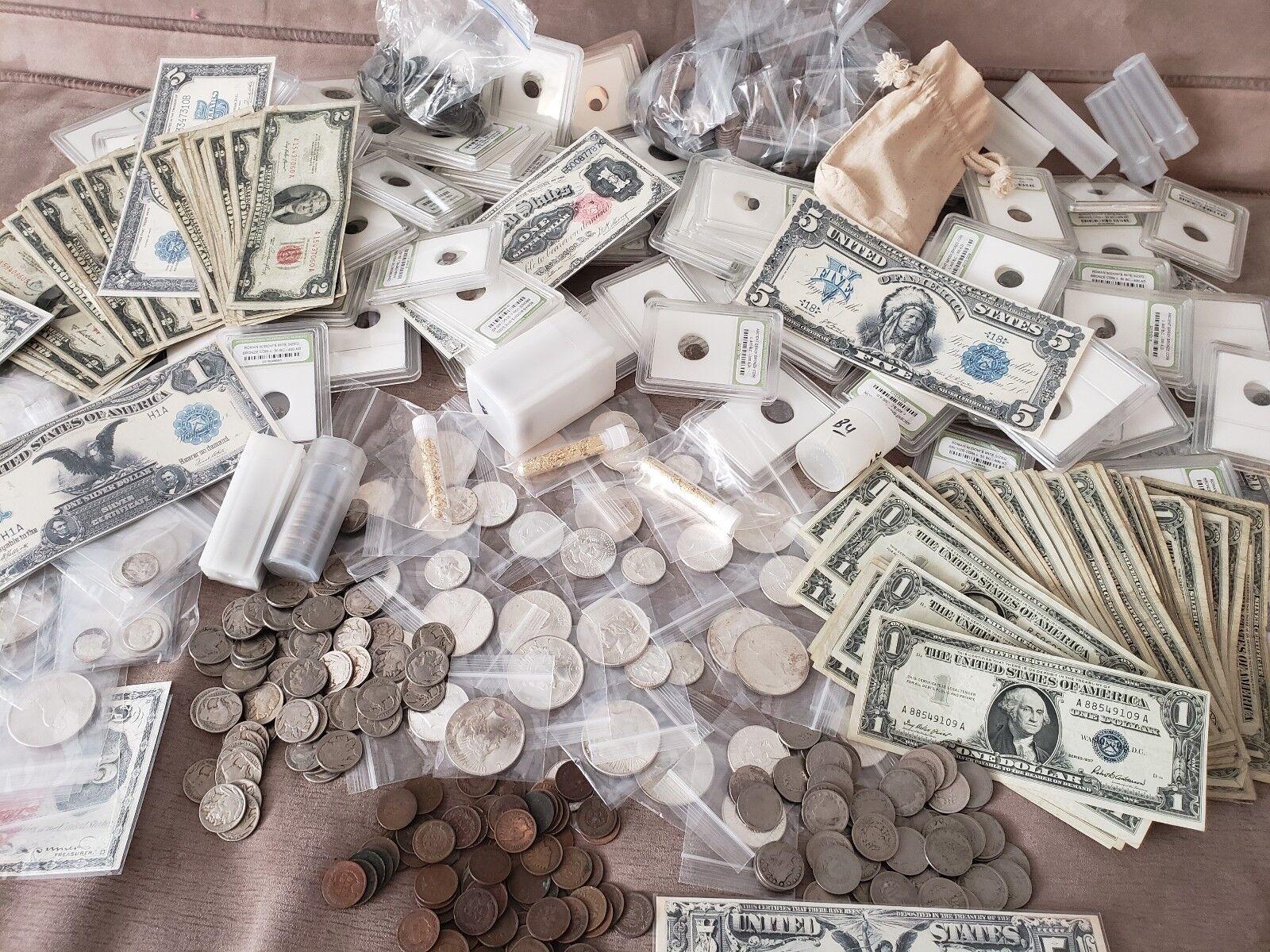 ESTATE LOT FIND, OLD US COINS, GOLD, .999 SILVER BARS, BULLION, RARE U.S. BILLS