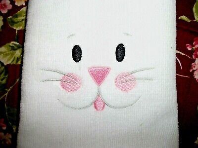 EASTER BUNNY FACE DESIGN, EMBROIDERED TOWEL,  WHITE - Bunny Face Design