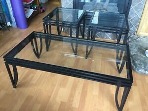 Glass & metal coffee  and end tables 3 piece set  $120