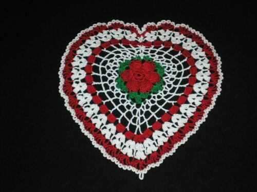 New Hand Crocheted Doily Valentines Heart/Rose