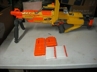 NERF N-Strike STAMPEDE ECS Auto Dart Blaster Shield  Bipod mags and 20 darts