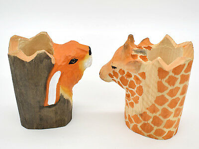 Desk Pen Holder Organizer Cup Wood Carved 3d Animal Makeup Pen Storage Container