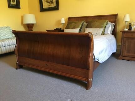 Sleigh bedframe, bedhead, bedside tables - queen size, solid wood
