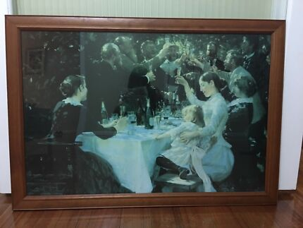 Antique painting with hard wood frame
