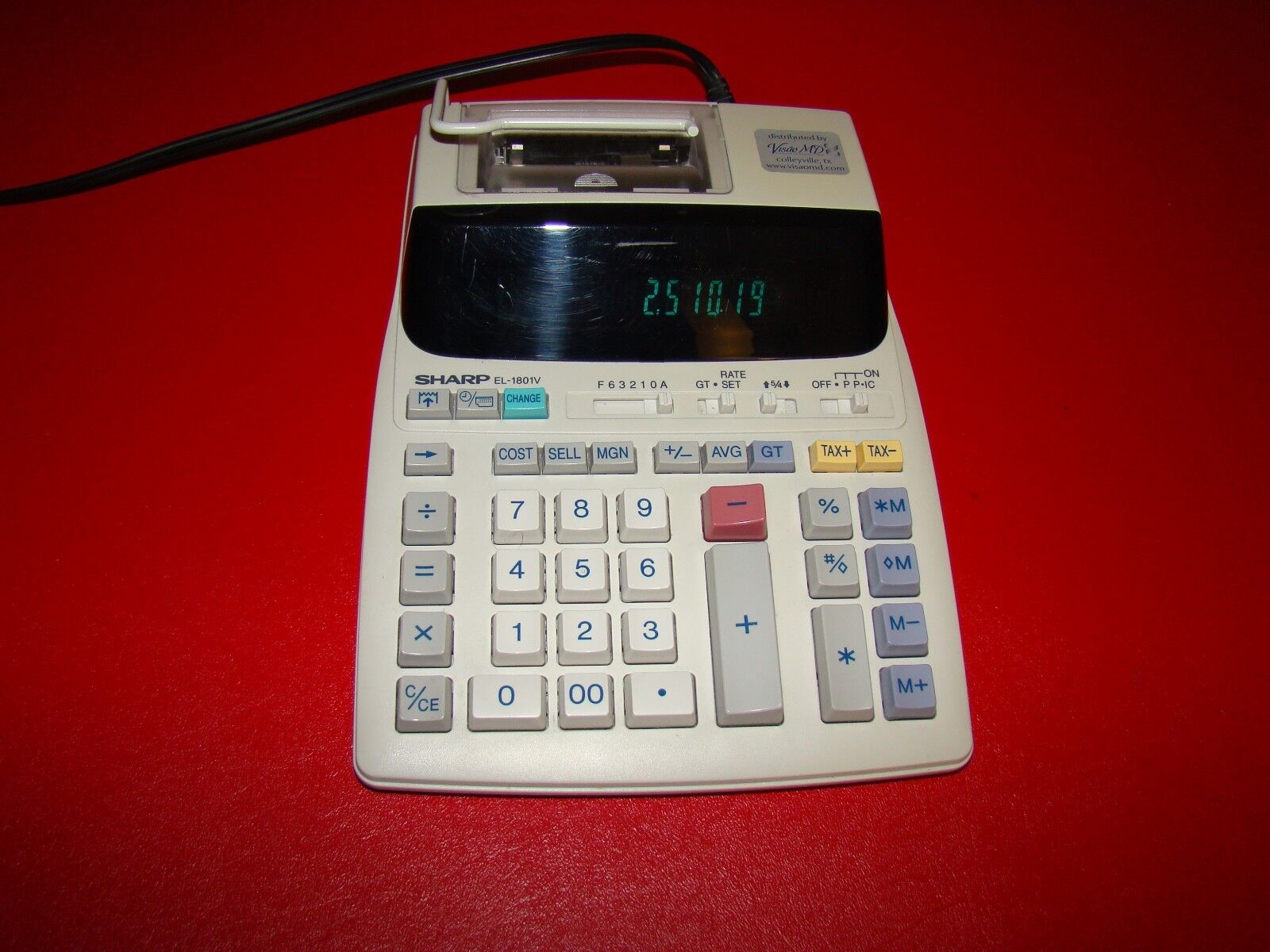 Sharp EL-1801V 12 Digit Printing Calculator Adding Machine 12 Digit No papers