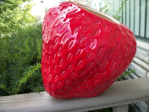 Vintage Slant Strawberry Cookie Jar  No Lid