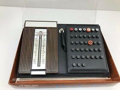 - Vtg Mid Century Desk Set Flip Index Address Book Calendar Memo Woodgrain Mad Men
