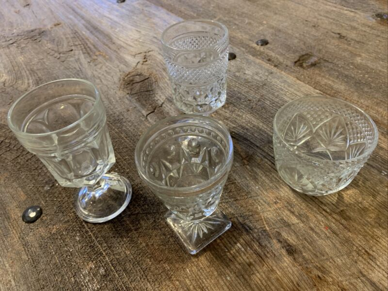 Miscellaneous Pressed Corgial Glasses And Sugar Bowl Set Of 4