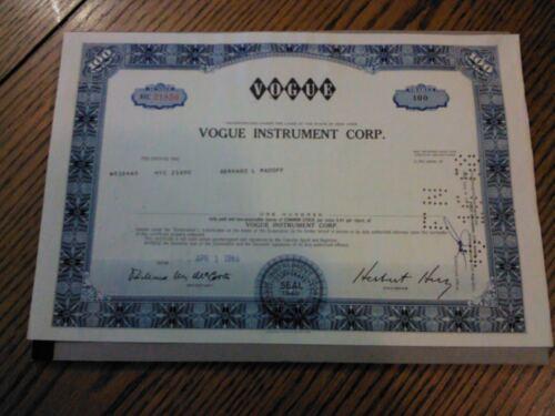 Bernard (Bernie) Madoff Autograph Notarized Signature Stock Certificate RARE