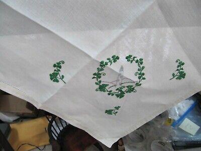 Vintage Irish linen table topper 32 x 32 Great Shape