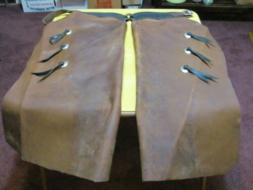 "Vintage ""Pioneer Leather"" Boise Idaho, Heavy Leather Western Chaps. Very Nice!!!"