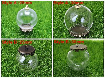 DIY Globe Glass Bottle Pendant 25mm,30mm with Bronze Base Memory Locket