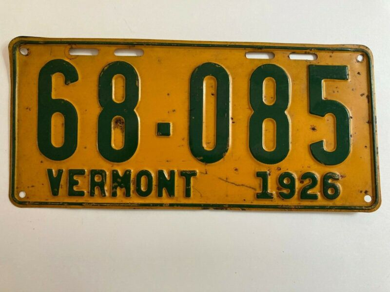 1926 Vermont License Plate 100% All Original