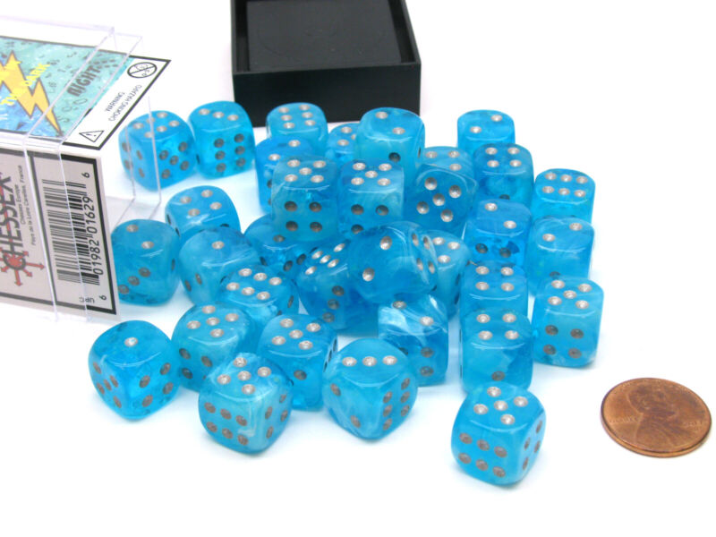Luminary 12mm D6 Chessex Glow in the Dark Dice Block (36 Dice) - Sky with Silver
