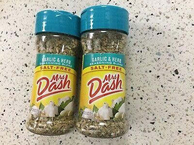 Mrs Dash Garlic Herb Salt-Free Seasoning Two 2.5 Oz Brand New 8/21 Date Herb Salt Free Seasoning