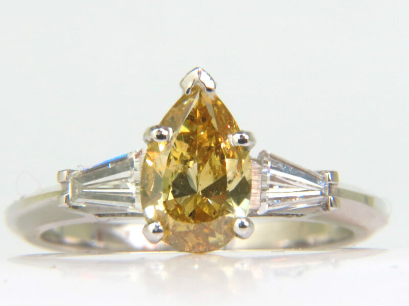 █$16000 Gia 1.62ct Natural Fancy Yellow Diamond Ring█ Vivid & Clean