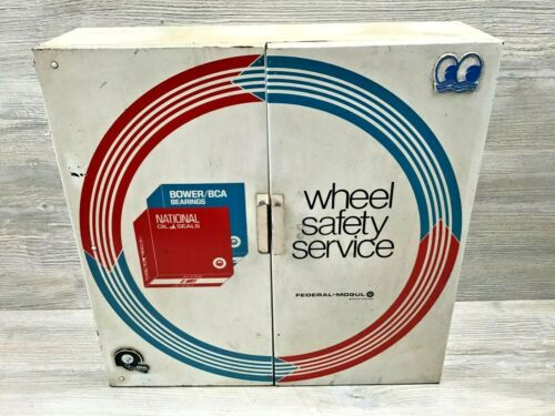 Vintage Federal-Mogul Wheel Safety Service Metal Advertising Cabinet Shop Garage