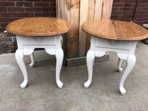 Pair of Vintage Broyhill End Tables White End Tables Wood Night Stands