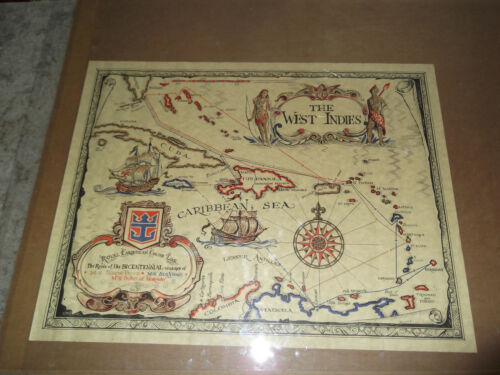 "1971 The West Indies Royal Caribbean Cruise Line Iriondo Map 22"" Norway"