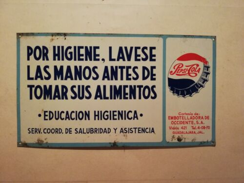 Vintage Antique Pepsi Cola Mexican tin metal sign restroom advertising from 50´s