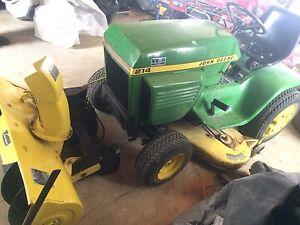 Tracteur john deere 214 tondeuse souffleur rotoculteur