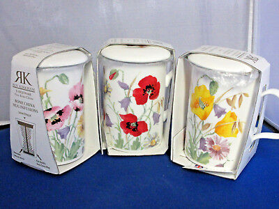 3 ENGLISH MEADOW Infuser mugs Fine Bone China Made in England Roy Kirkham 10oz