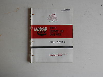 LUCAS Parts List 1962  ROVER 80 100 3 Litre and LAND ROVER