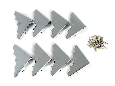 8pc. Shiny Chrome Box Corners with Screws - Perfect for wooden boxes! 32-94-01 on Rummage