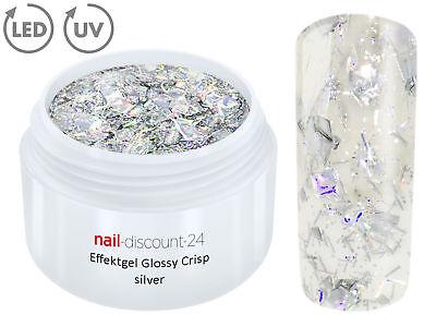 UV LED GEL CRISP Effekt SILVER Glitzer Farb Color Nail Art Modellage Nail Silber
