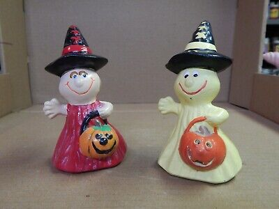 """Vintage Hand Painted Ceramic Trick-or-Treaters Halloween Ghosts 5"""" Lot of 2"""