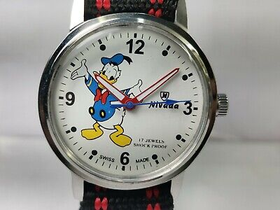 Vintage Nivada Donald Duck Dial Handwinding Movement Mens Wrist Watch VG2