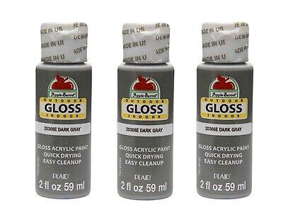 (3)Apple Barrel Gloss Acrylic Paint Lot, DARK GRAY, 20466E - NEW/SEALED! ⭐️