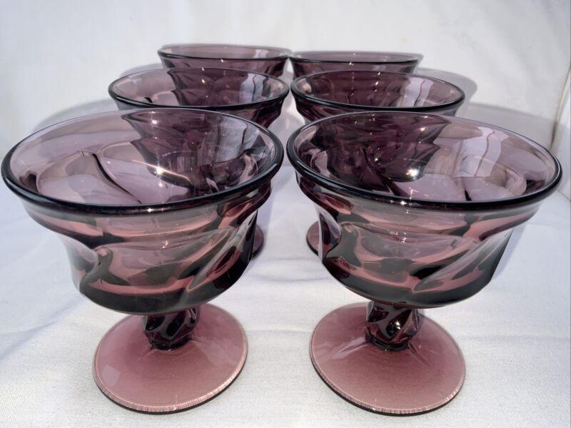 Set Of 6 Fostoria Jamestown Swirl Dessert Cups In Amethyst