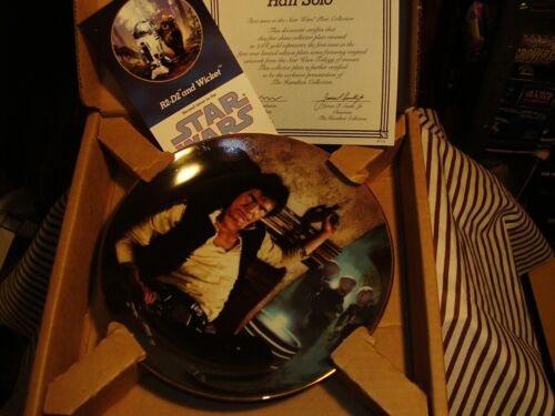 "STAR WARS ""Han Solo"" 1986 Hamilton Collection Plate & COA With Box"